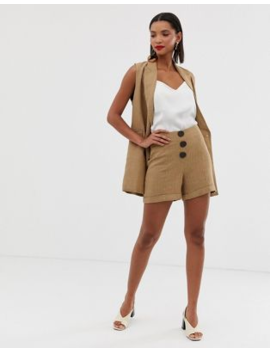 mango-button-front-herringbone-shorts-in-brown by mango