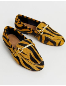 asos-design-moment-leather-mule-loafers-in-tiger by asos-design
