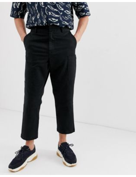 asos-white-cargo-trousers-in-black-heavyweight-twill by asos-white