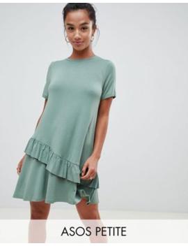 asos-design-petite-mini-t-shirt-dress-with-drop-ruffle-hem by asos-design