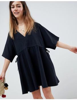 asos-design-petite-v-front-v-back-smock-mini-dress-with-ruched-tie-detail by asos-design