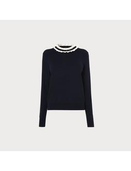 Anabelle Navy Frill Neck Sweater by L.K.Bennett