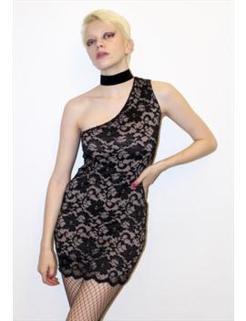 90s-vintage-black-lace-a-symmetric-mini-dress by pretty-disturbia
