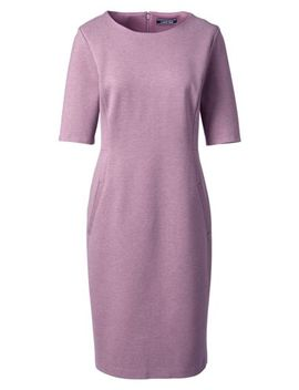 a3111a6f LANDS' END. WOMEN'S PLUS SIZE PONTE KNIT SHEATH DRESS WITH ELBOW SLEEVES