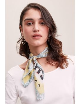 geometric-tile-print-silk-scarf by anthropologie
