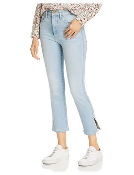 le-sylvie-side-slit-cropped-straight-leg-jeans-in-superstar by frame