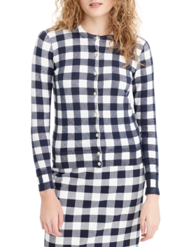 jackie-gingham-cotton-blend-cardigan by jcrew