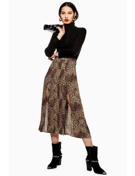 petite-leopard-box-pleat-midi-skirt by topshop