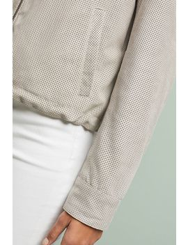 bagatelle-perforated-suede-bomber-jacket by bagatelle