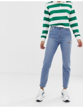 asos-design-recycled-farleigh-high-waist-slim-mom-jeans-in-light-vintage-wash-with-slash-thigh-rip by asos-design