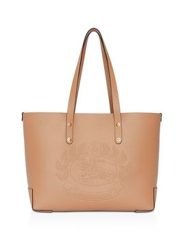 small-embossed-crest-leather-tote by burberry
