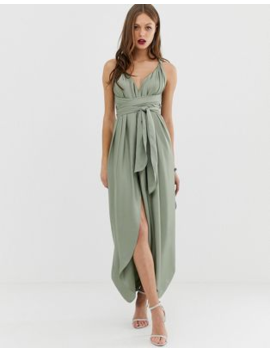 asos-design-maxi-dress-with-wrap-waist-with-horn-detail-in-satin by asos-design