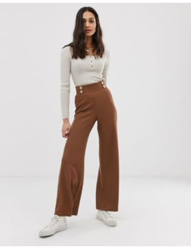 asos-design-wide-leg-trousers-in-textured-rib-with-natural-buttons by asos-design