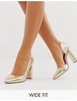 c7429629687 ASOS DESIGN Wide Fit Walter d'orsay high heels in champagne croc