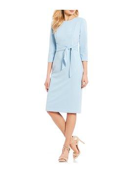 70b2fd71a99 knit-crepe-tie-waist-midi-length-sheath-dress by
