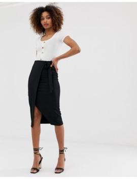 04c025885a Shoptagr | Miss Selfridge Skirt With Tie Side In Black by Miss Selfridge