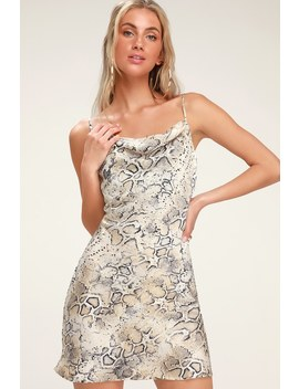 c4cc6484a565e Shoptagr | Breeana Beige Snake Print Satin Cowl Neck Slip Dress by ...