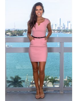 9c1831bf457 Pink Short Dress With Belt by Saved By The Dress