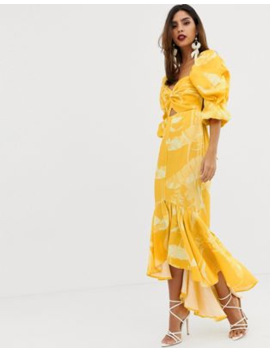 f3e29aa5e1ca Shoptagr | Asos Edition Knot Front Milkmaid Midi Dress In Print by ...