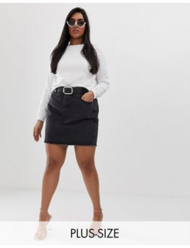 1dd904eb3 Shoptagr | Liquor N Poker Plus Raw Hem Denim Mini Skirt by Plus Skirt