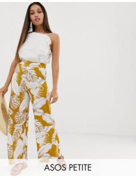 0ca14925fea21 Shoptagr | Asos Design Petite Wide Leg Pants In Palm Print by Asos ...