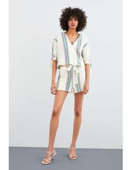 7b47125c16 Shoptagr | Rustic Striped Shorts Coord Sets Woman by Zara