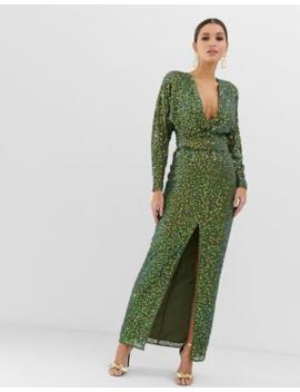 8e0e01757ace Shoptagr | Asos Design Maxi Dress With Batwing Sleeve And Wrap Waist ...