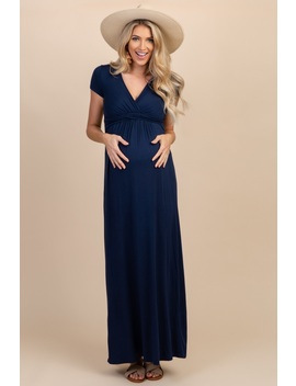 155c1228bd8ce Shoptagr | Petite Navy Draped Maternity/Nursing Maxi Dress by Pinkblush
