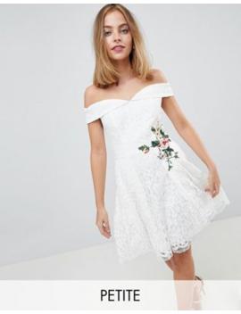 ecb4682710 Shoptagr | Little Mistress Petite Lace Mini Bardot Dress With Floral ...