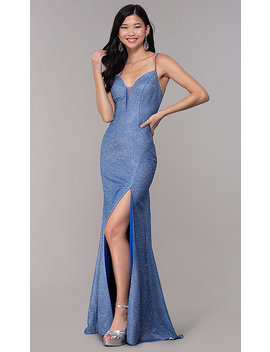 2439ca050240 Shoptagr | Long Glitter Knit Strappy Back Sapphire Prom Dress by ...