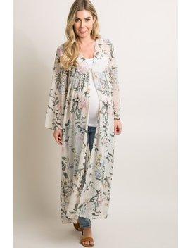 bf065f7c276b1 Shoptagr | Cream Floral Button Up Long Maternity Kimono by Pinkblush