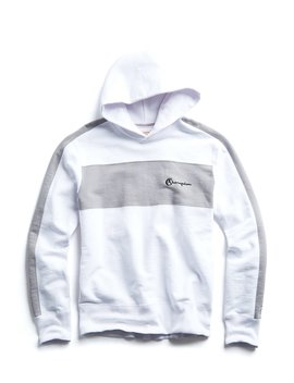 7a995fc0 Shoptagr   Popover Hoodie With Chest Stripe In White by Todd Snyder ...