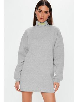 a8b588819 Grey Roll Neck Embroidered Sweater Dress