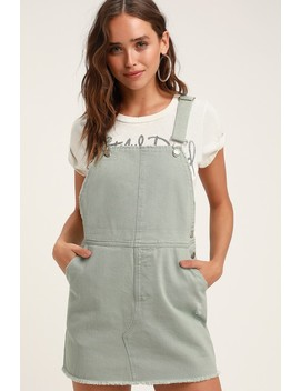 f3d581576d Shoptagr | Aria Sage Green Denim Skirt Overalls by Lulus