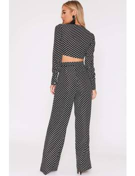 0503cd2b1511ee Shoptagr | Billie Faiers Black Polka Dot Palazzo Trousers by In The ...