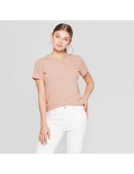 912bbd76118aaa Shoptagr   Women's Striped Short Sleeve Crew Neck Meriwether Pocket ...