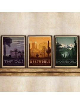 Westworld Shogunworld Raj Map Travel TV Sci-fi Fantasy Western Vintage  Travel Poster Print
