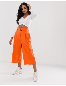 abccfa95e97 Shoptagr | Asos Design Belted Culottes In Pop Orange by Asos Design