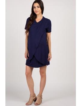 bbc7b6ec6e63a Shoptagr | Navy Solid Layered Wrap Front Maternity Nursing Dress by ...