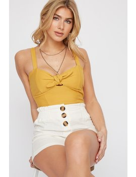 Textured Front Tie Cut Out Cropped Tank by Urban Planet