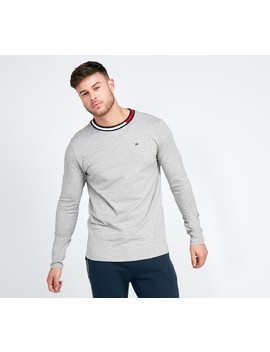 98086882b Shoptagr   Flag Neck Long Sleeve T Shirt   Grey by Tommy Hilfiger