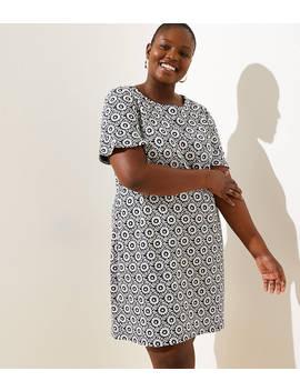 48cb17779c Shoptagr | Loft Plus Floral Jacquard Flounce Cuff Shift Dress by Loft