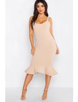 244c1f8fa14c Shoptagr | Peplum Frill Hem Strappy Midi Dress by Boohoo