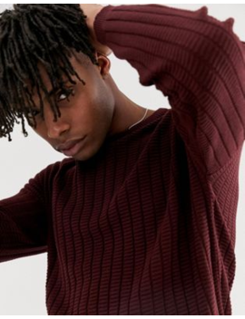 e06be4dff80 ASOS DESIGN oversized textured knit jumper in burgundy