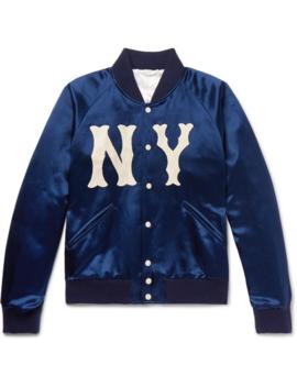 cf9ab0160 Shoptagr | + New York Yankees Appliquéd Satin Twill Bomber Jacket by ...