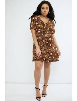 1c8b665269400 Shoptagr | Curve Emily Atack Mix Leopard Print V Neck Shift Dress by ...
