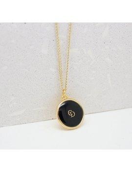Re-Purposed Christian Dior Necklace Vintage Button Jewellery Pendant Black  Enamel Gold Curb Chain Monogram