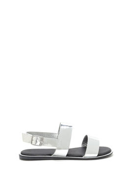 Sleek Aesthetic Strappy Metallic Sandals by Go Jane