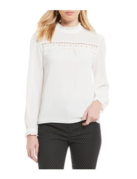 long-sleeve-ruffled-mock-neck-lace-detail-blouse by cece