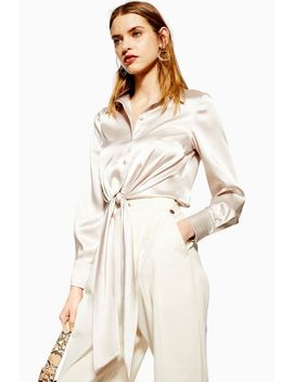 satin-tie-front-shirt by topshop